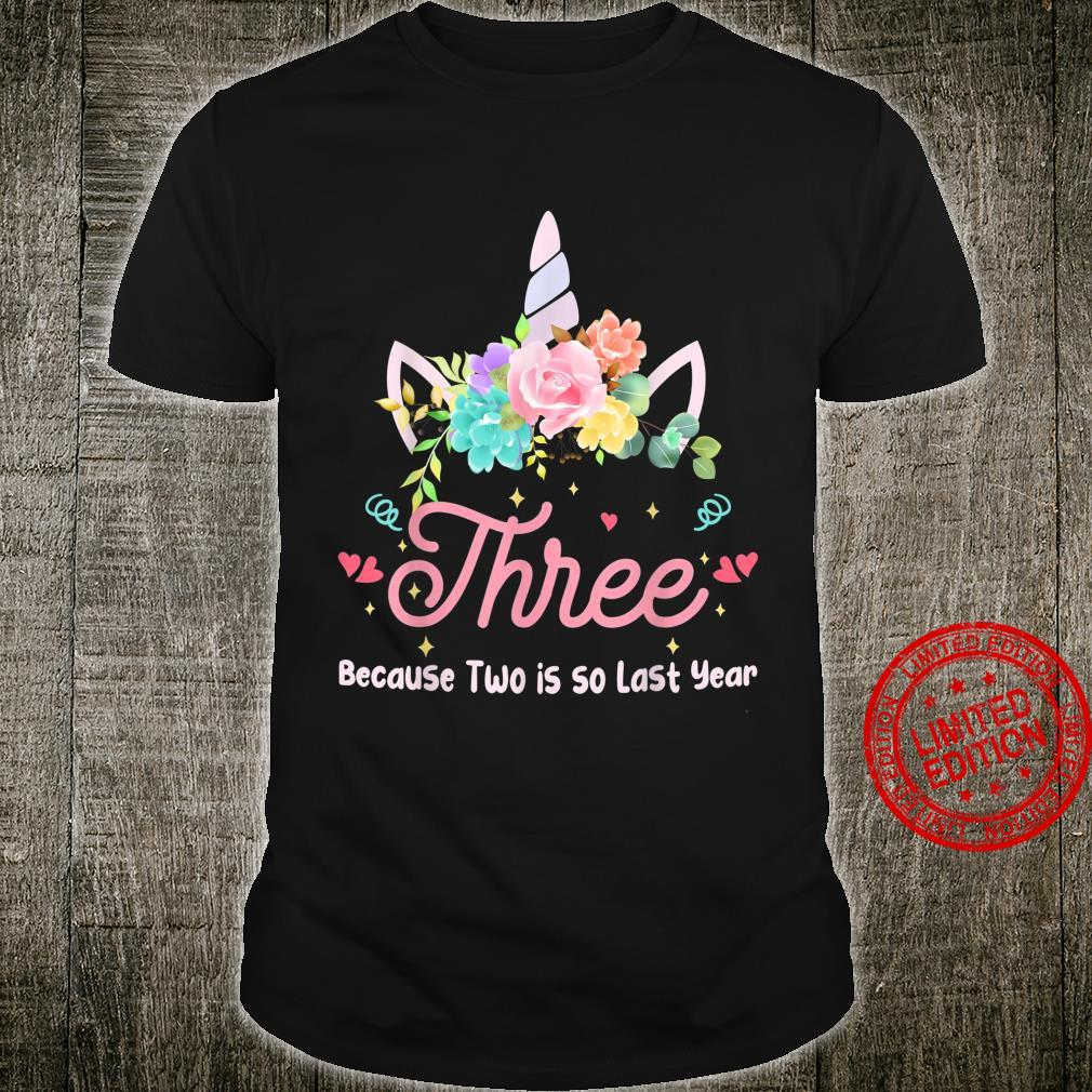 3 Years Old 3rd Birthday Unicorn Party For Girls Shirt