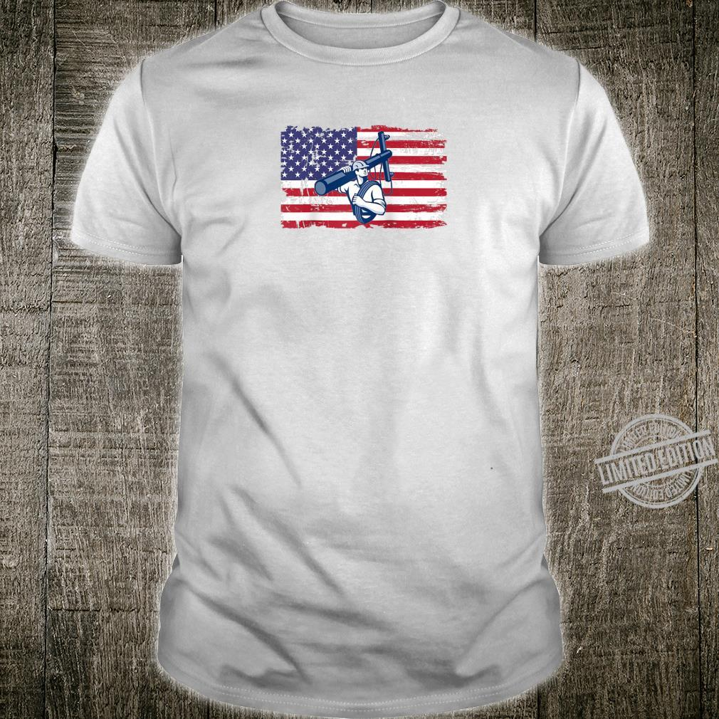 American Lineman Electrical Cable Line Worker Flag Shirt