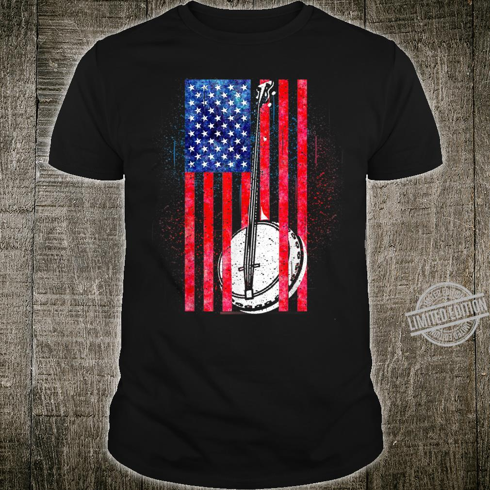Banjo In American Flag Bluegrass Cute Fiddle Players Shirt