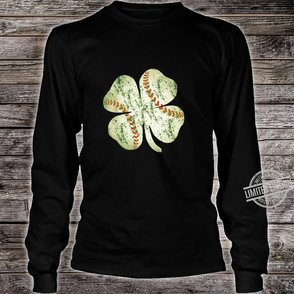 Baseball St Patricks Day Boys Catcher Pitcher Shamrock Shirt long sleeved
