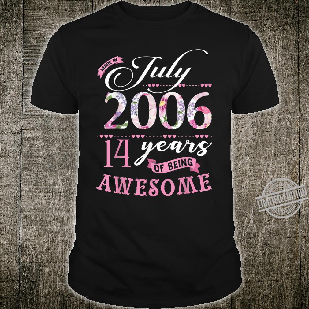 Birthday Floral for Girls Born in July 2006 Shirt