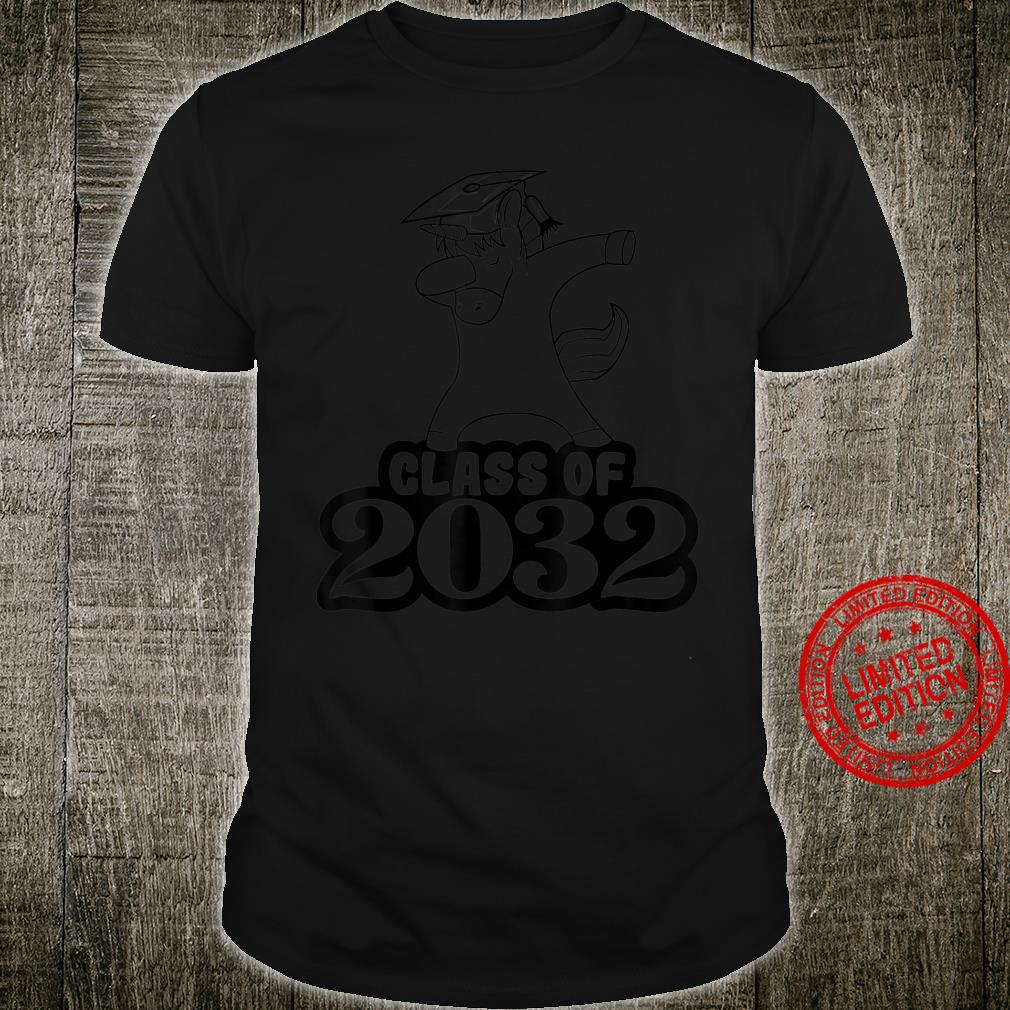 Class of 2032 Grow With Me Colorful Dabbing Unicorn Shirt