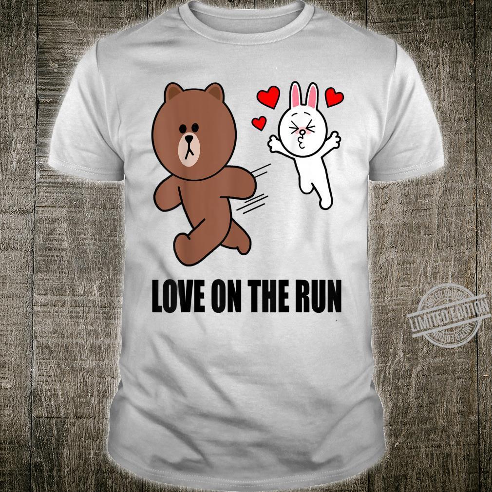 Cute brown bear cony bunny rabbit valentines love on the run Shirt