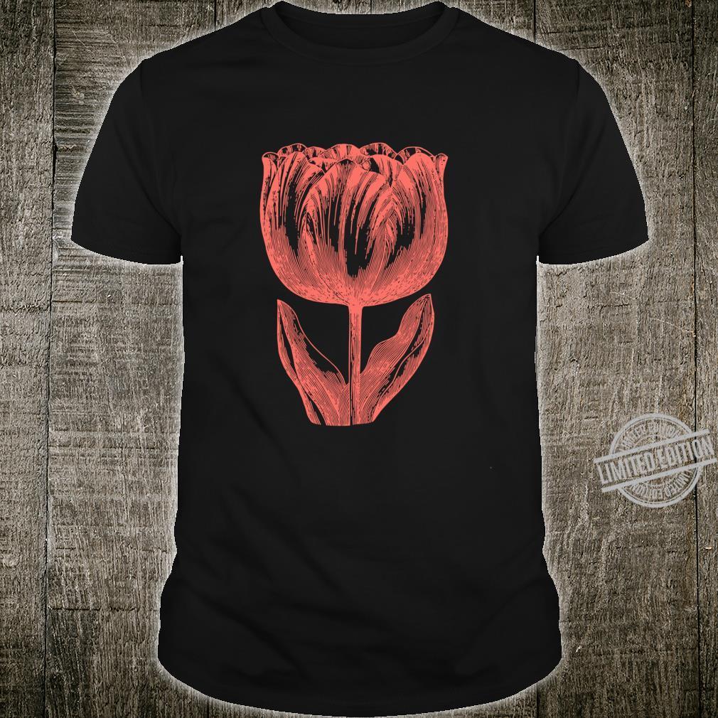 Dutch Tulip Flower Floral Vintage Line Art Illustration Shirt