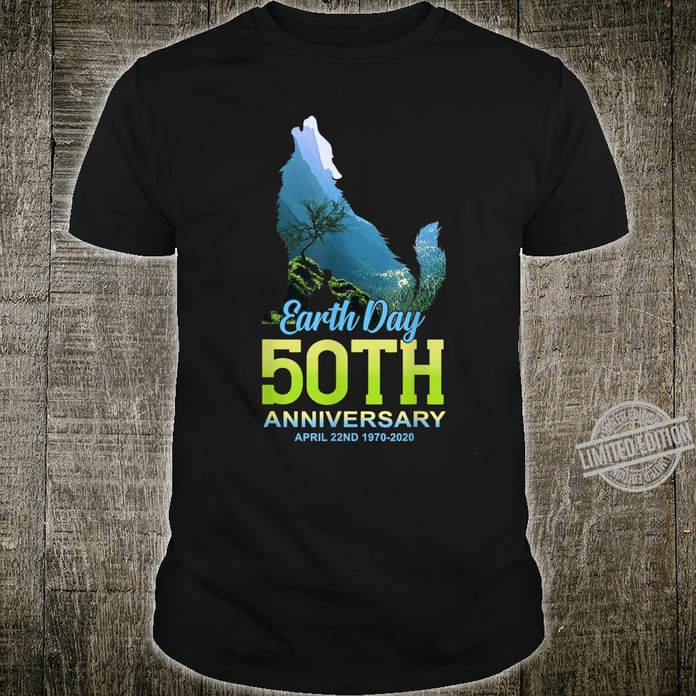 Earth Day 50th Anniversary Brown Wolf Silhouette Shirt