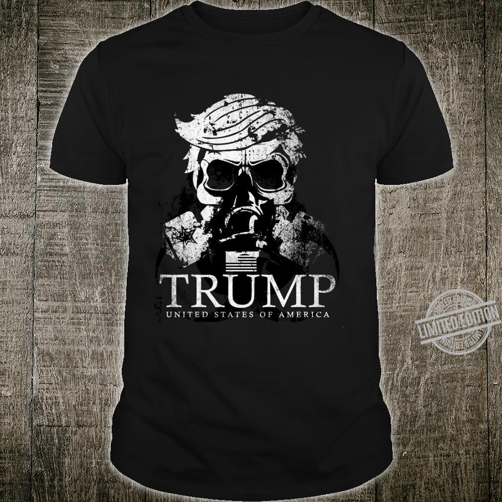 Epic Trump USA Gas Mask Distressed American Flag Shirt