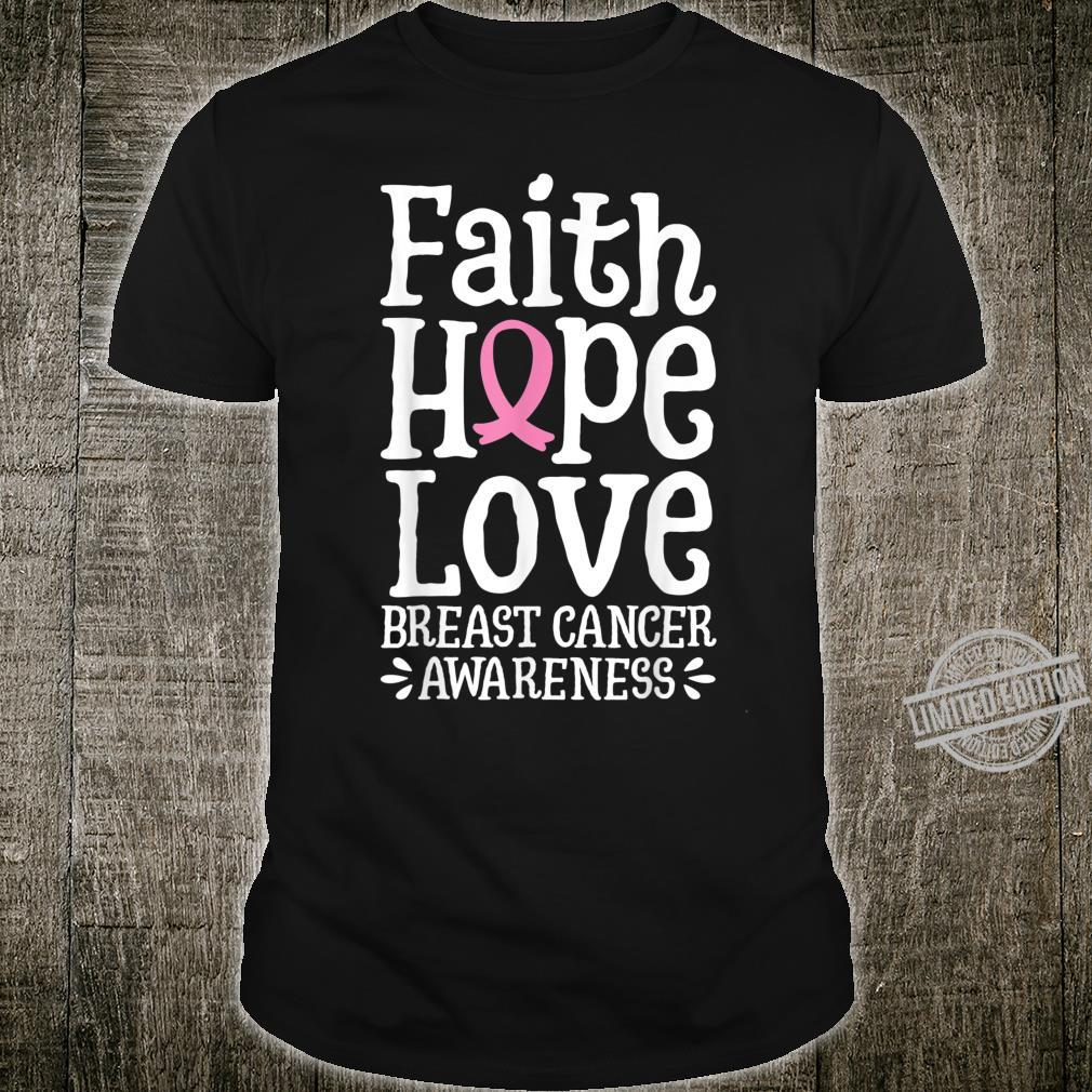 Faith Hope Love Breast Cancer Awareness Girls Shirt