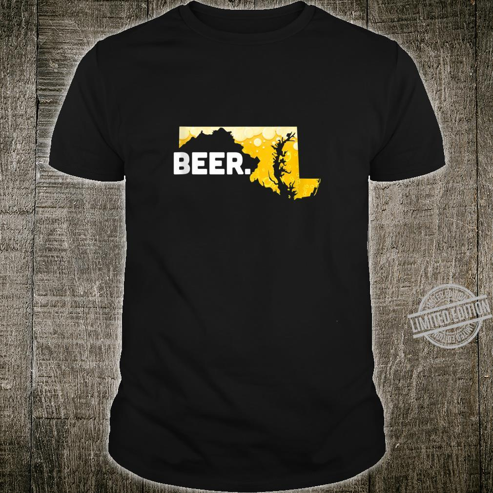 Funny Beer MD State Drinking Home Love Maryland Beer Shirt