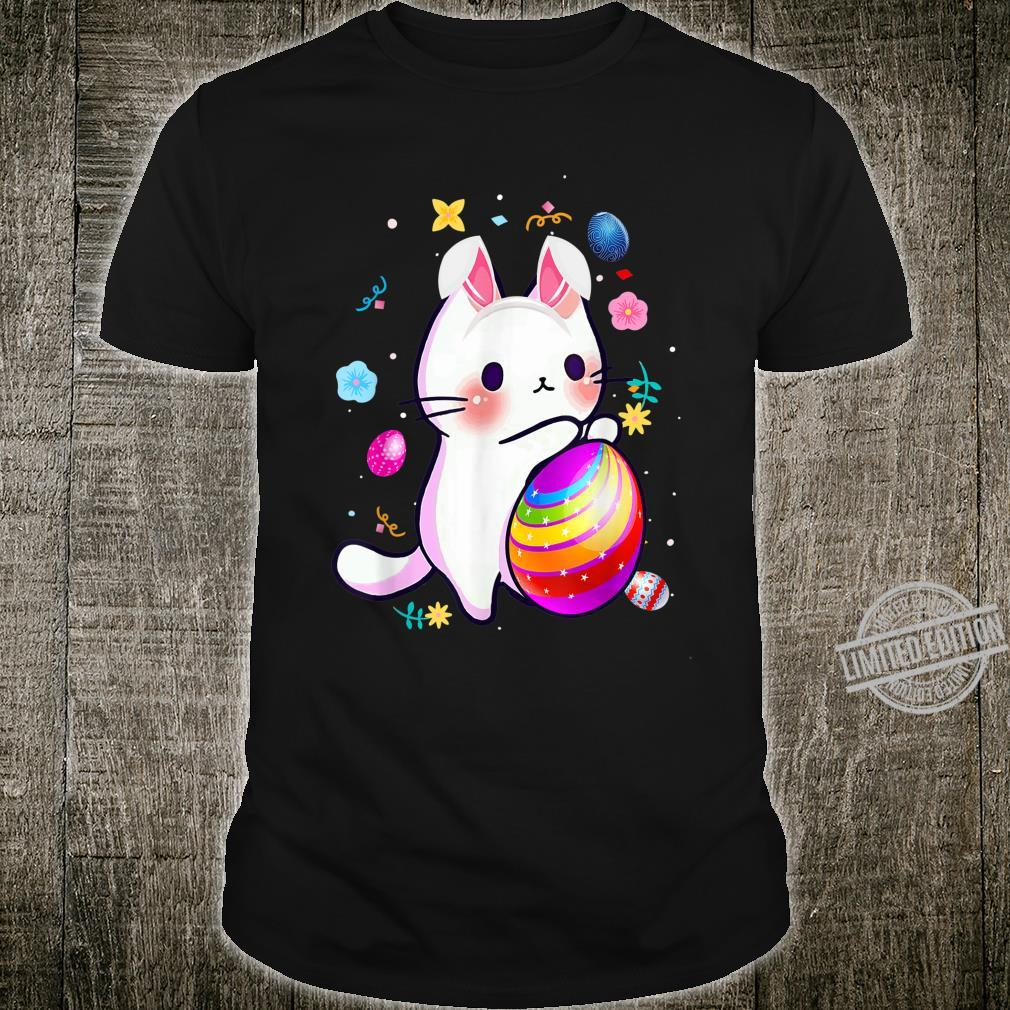 Funny Easter Cat Bunny Easter Day Cat Hunting Eggs Girl Shirt
