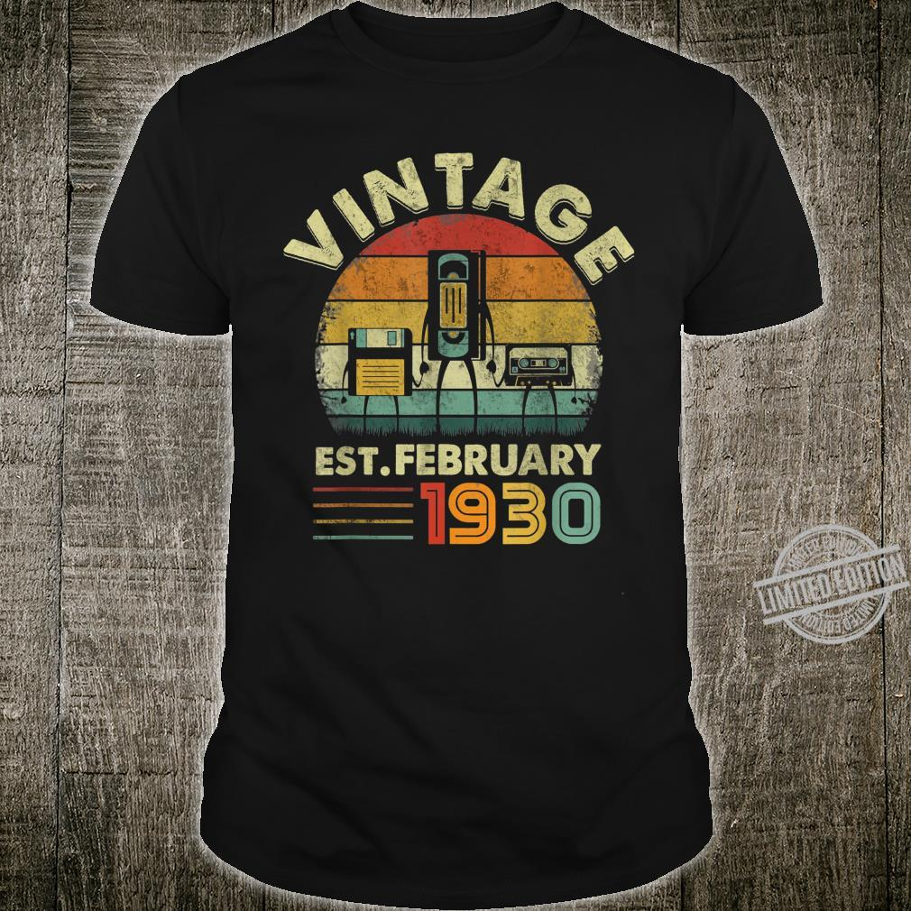Funny Est February 1930 Music Vintage 90 Years Old Birthday Shirt