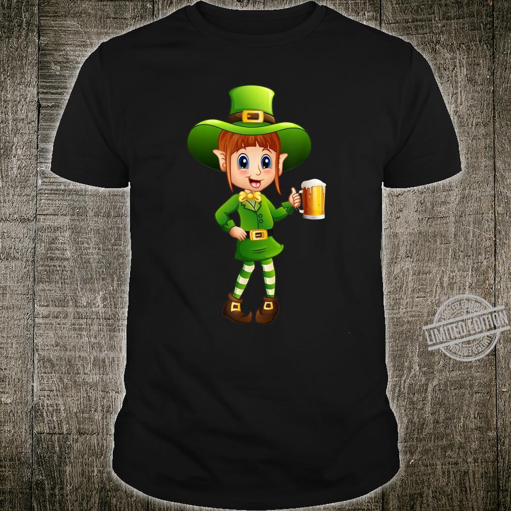 Funny Female Drinking St Patricks Day Leprechaun Shirt