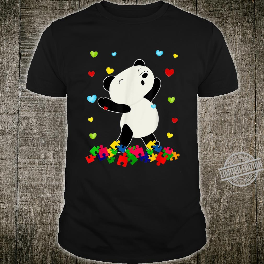 Funny Panda Puzzle Piece Autism Awareness Month Kid Shirt