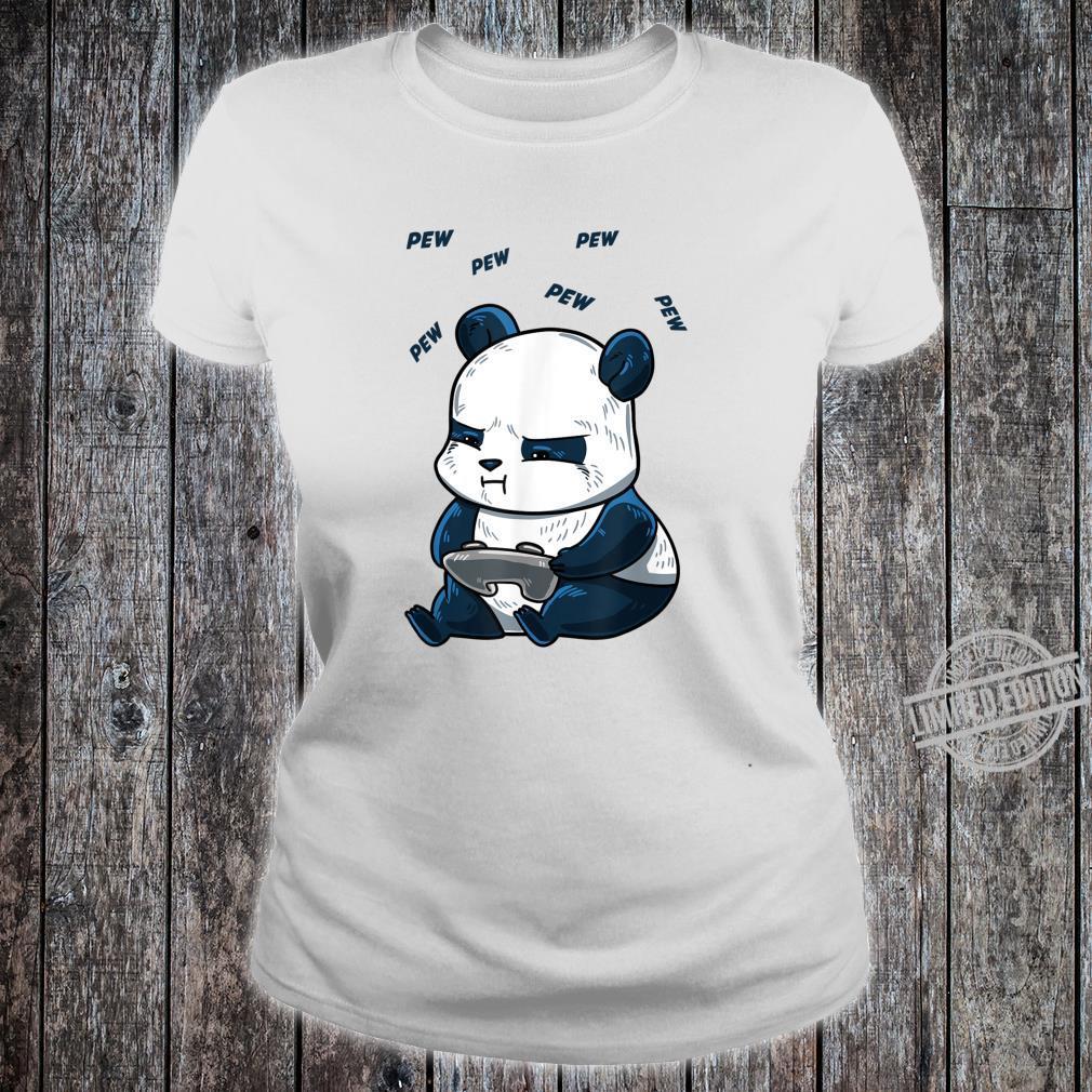 Gaming Panda Pew Cute Hobby Bear Video Game Player Shirt ladies tee