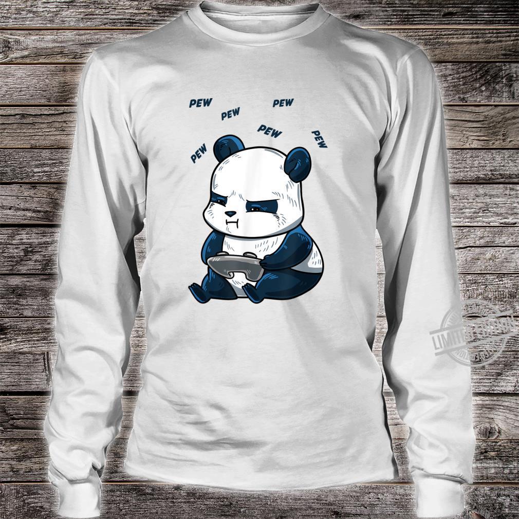 Gaming Panda Pew Cute Hobby Bear Video Game Player Shirt long sleeved