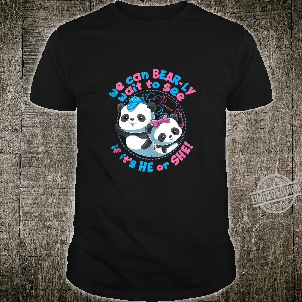 Gender Reveal Panda Bears We Can Bearly Wait Shirt