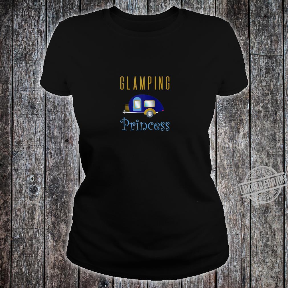 Glamping Princess Camping in Style Blue Camper Shirt ladies tee