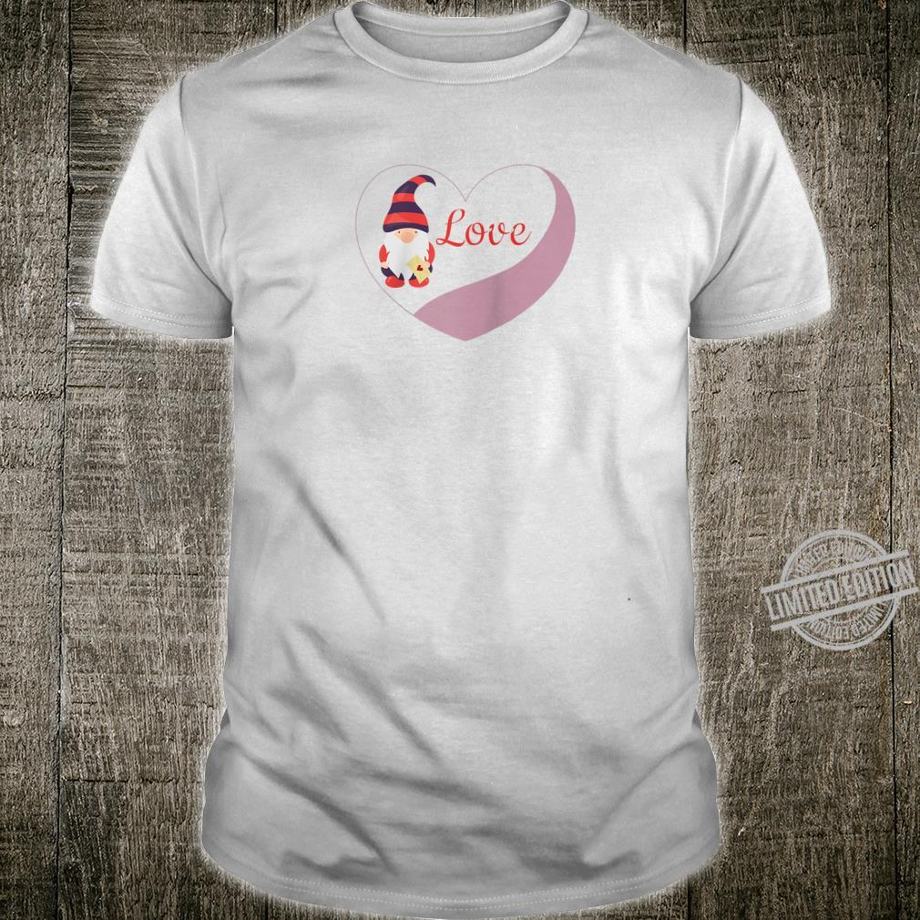Gnome Valentine with Heart Cute Girls Shirt