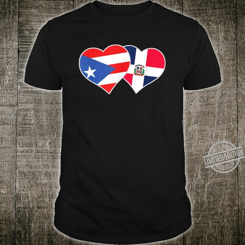 Half Puerto Rican Half Dominican Flag Heart DominiRican Shirt