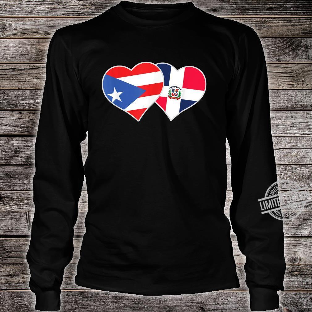 Half Puerto Rican Half Dominican Flag Heart DominiRican Shirt long sleeved