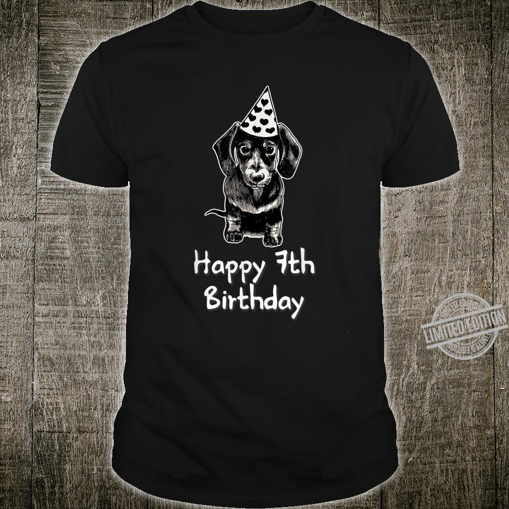 Happy 7th Birthday Dachshund Drawing Girl Shirt