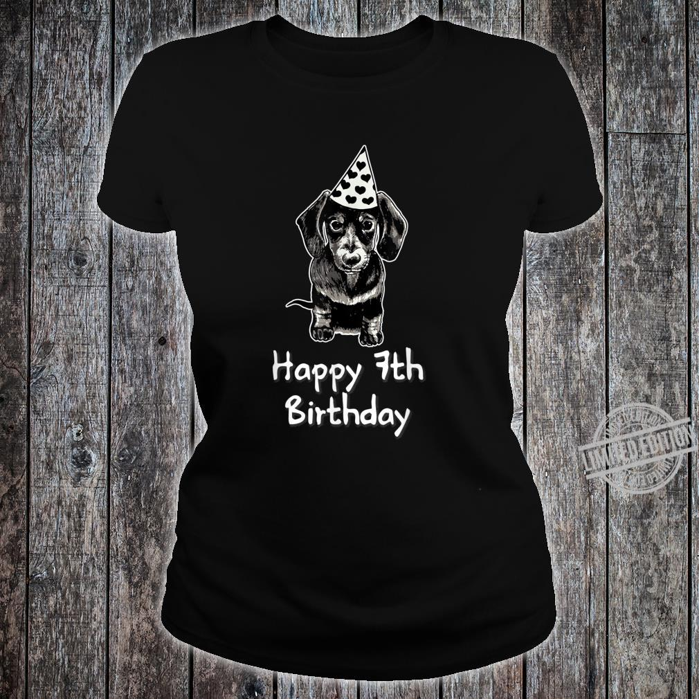 Happy 7th Birthday Dachshund Drawing Girl Shirt ladies tee