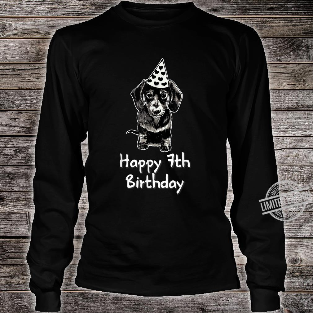 Happy 7th Birthday Dachshund Drawing Girl Shirt long sleeved