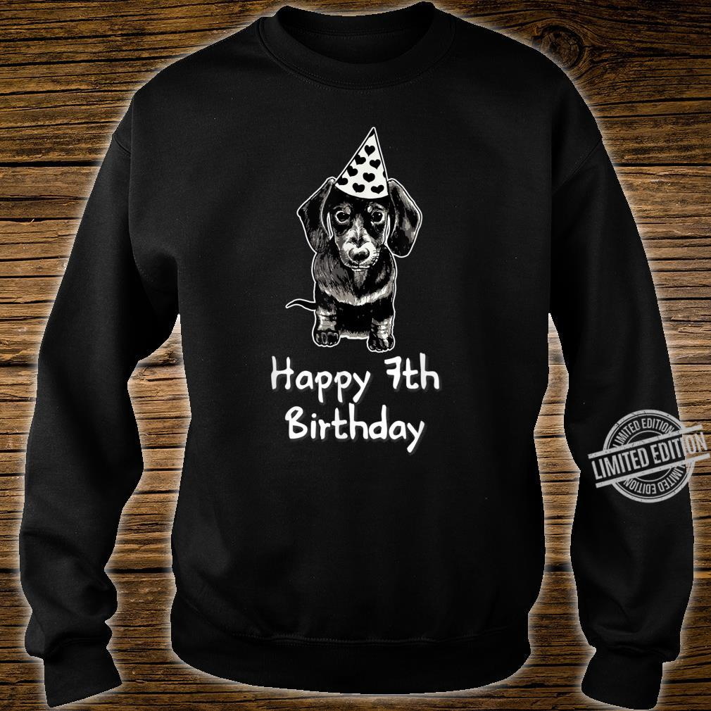 Happy 7th Birthday Dachshund Drawing Girl Shirt sweater