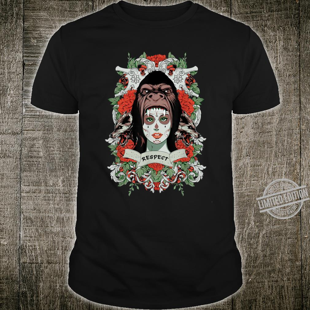 Hipster Gorilla Girl Wolfs, Skulls and Flowers Shirt