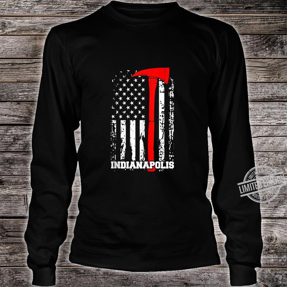 Indianapolis Firefighter Shirt Fireman American Flag Shirt long sleeved