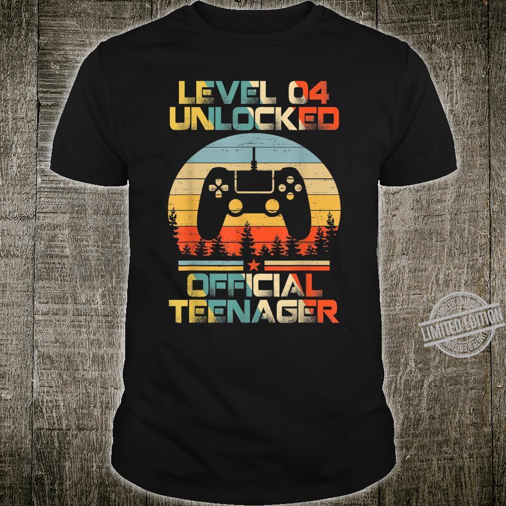 Level 4 Unlocked Officialnager 4th Birthday Gamer Shirt
