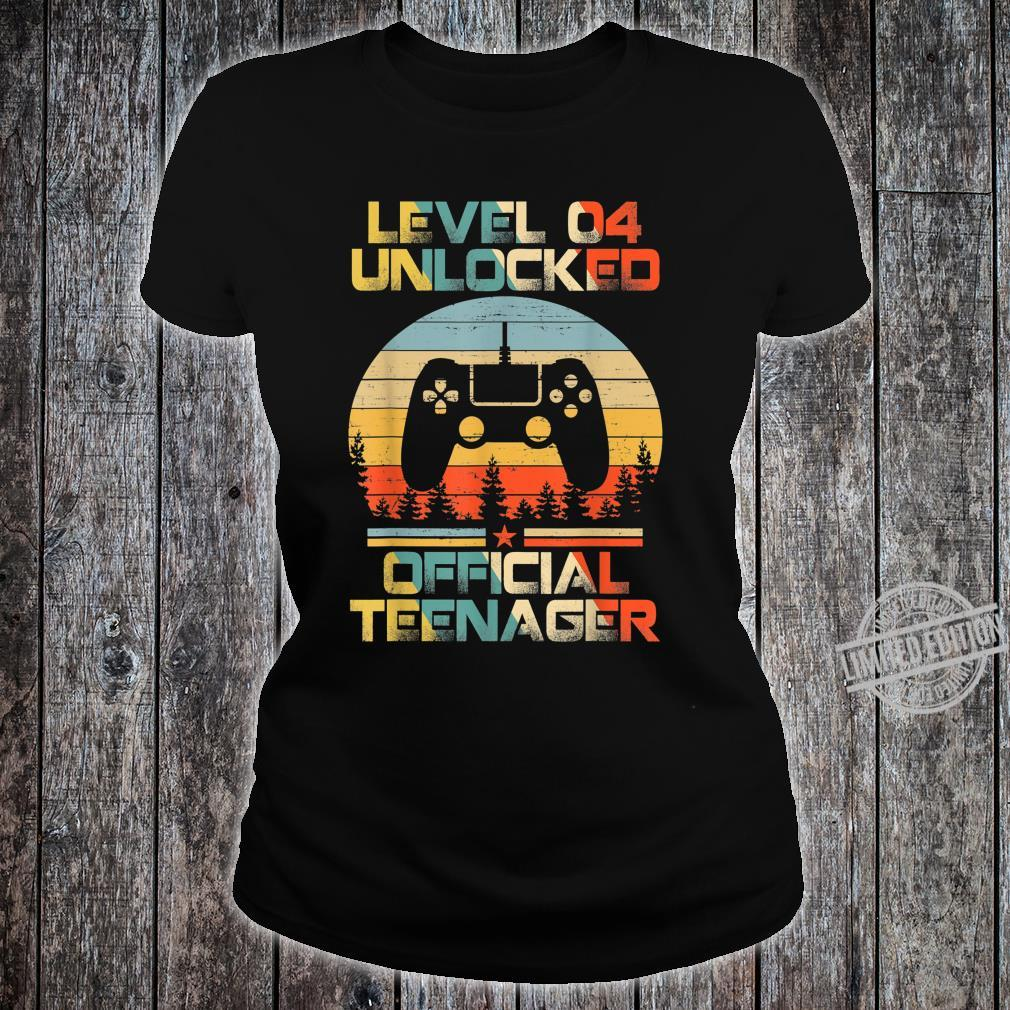 Level 4 Unlocked Officialnager 4th Birthday Gamer Shirt ladies tee