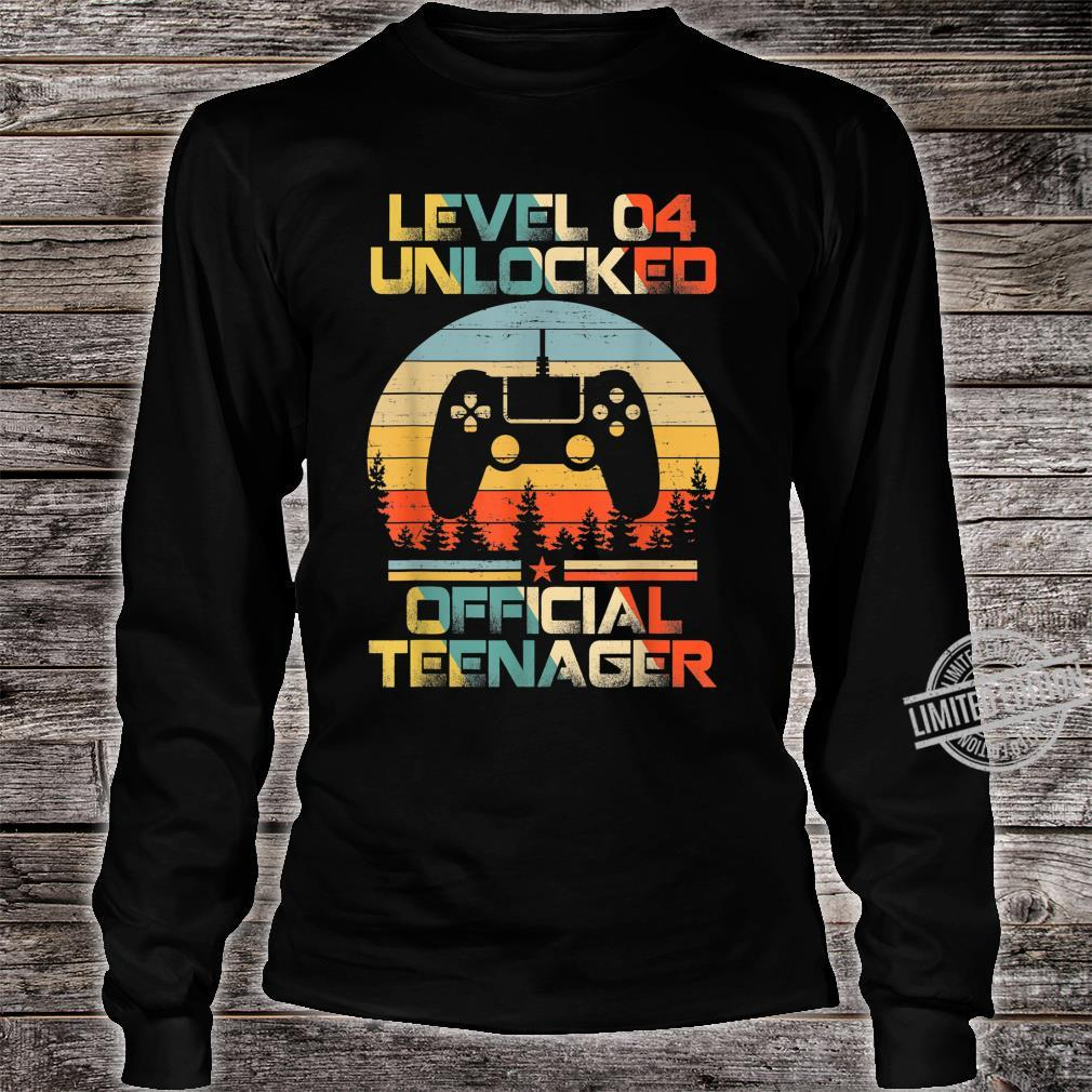Level 4 Unlocked Officialnager 4th Birthday Gamer Shirt long sleeved