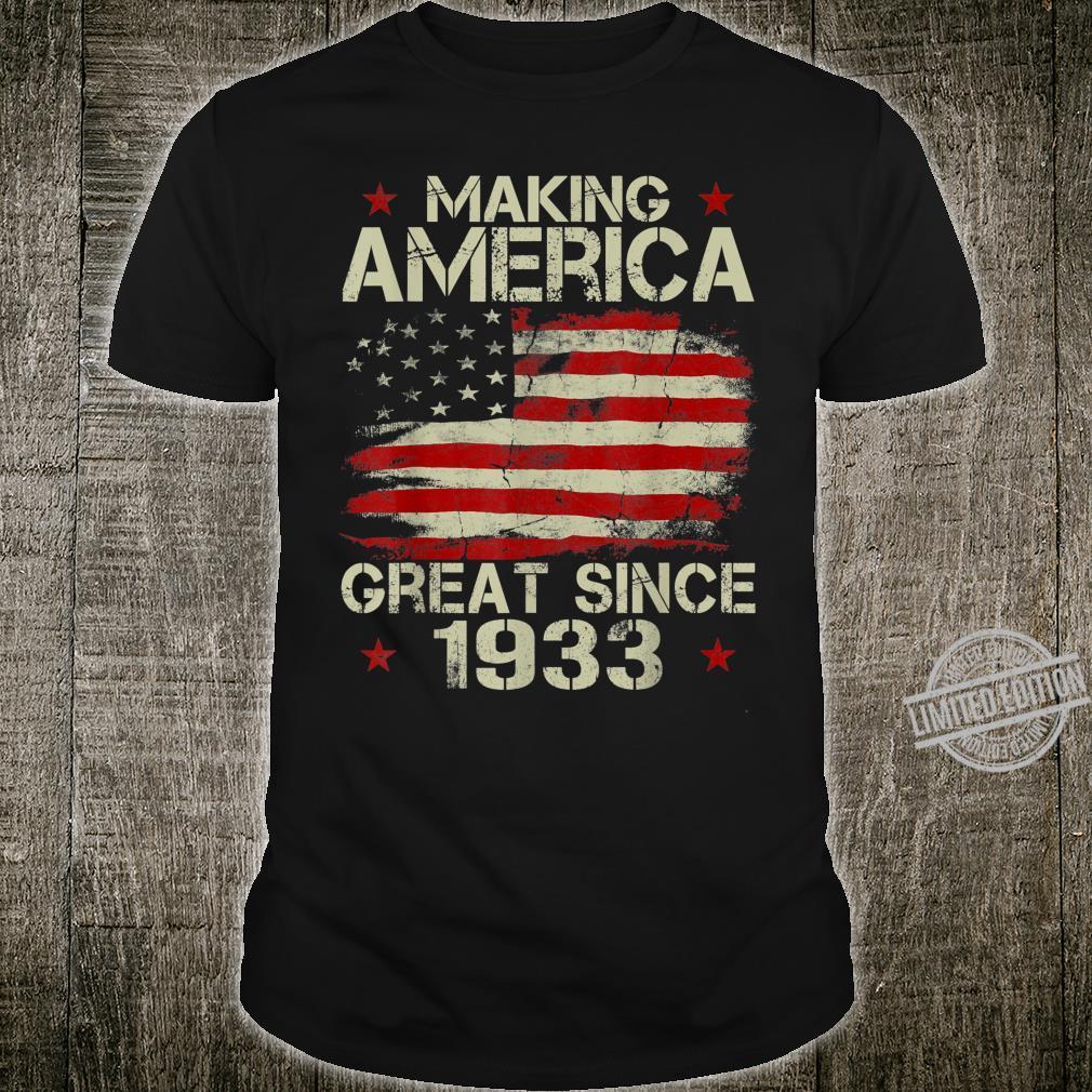 Mens Making America Great Since 1933 Vintage 87th Birthday Shirt
