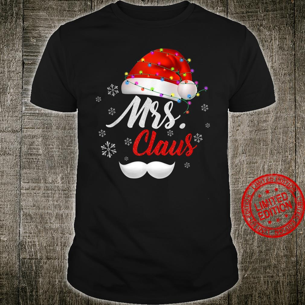 Mrs Clause Hat Light In Snow Santa Christmas Couples Shirt