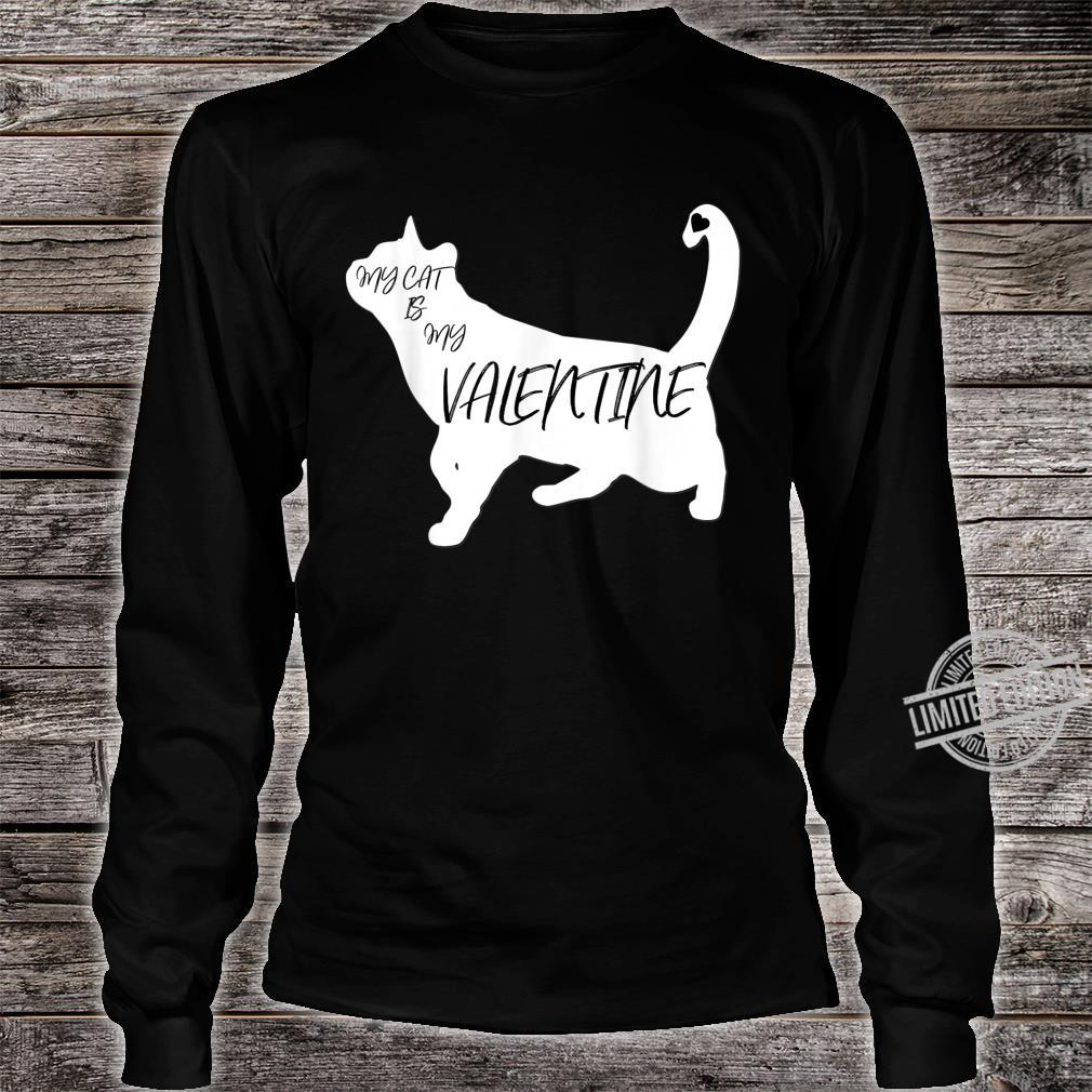 My Cat Is My Valentine Cute Silhouette Shirt long sleeved