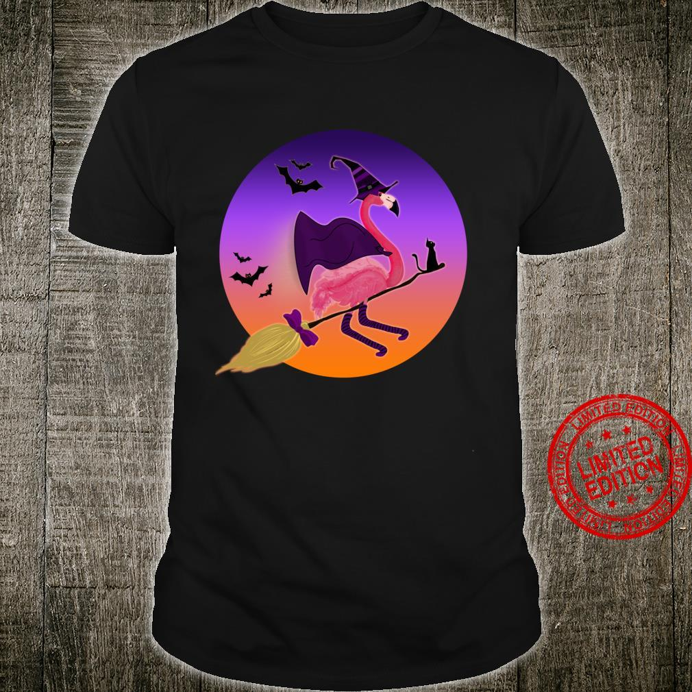 Pink Flamingo Witch Riding Her Broom with Cat Halloween Shirt