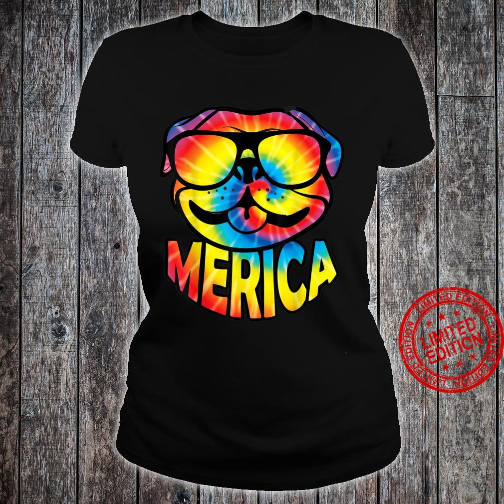 Pug Merica 4th Of July Tie Dye American Dog Shirt ladies tee