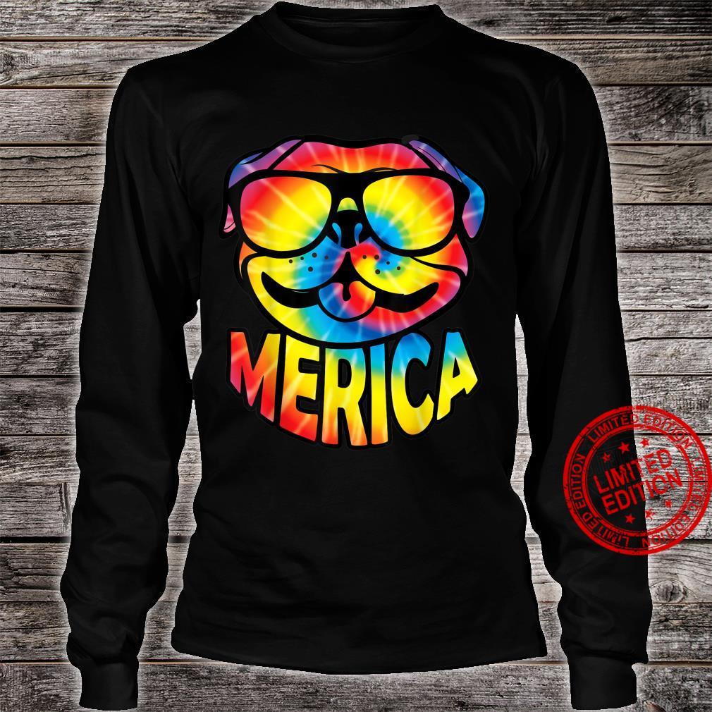 Pug Merica 4th Of July Tie Dye American Dog Shirt long sleeved
