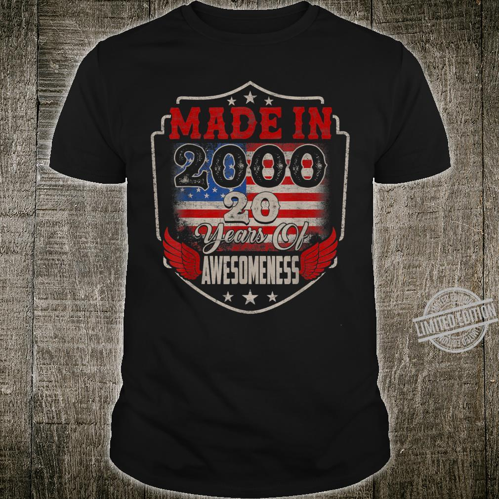 Retro Made In 2000 20 Years Of Awesomeness US Flag 20th Bday Shirt