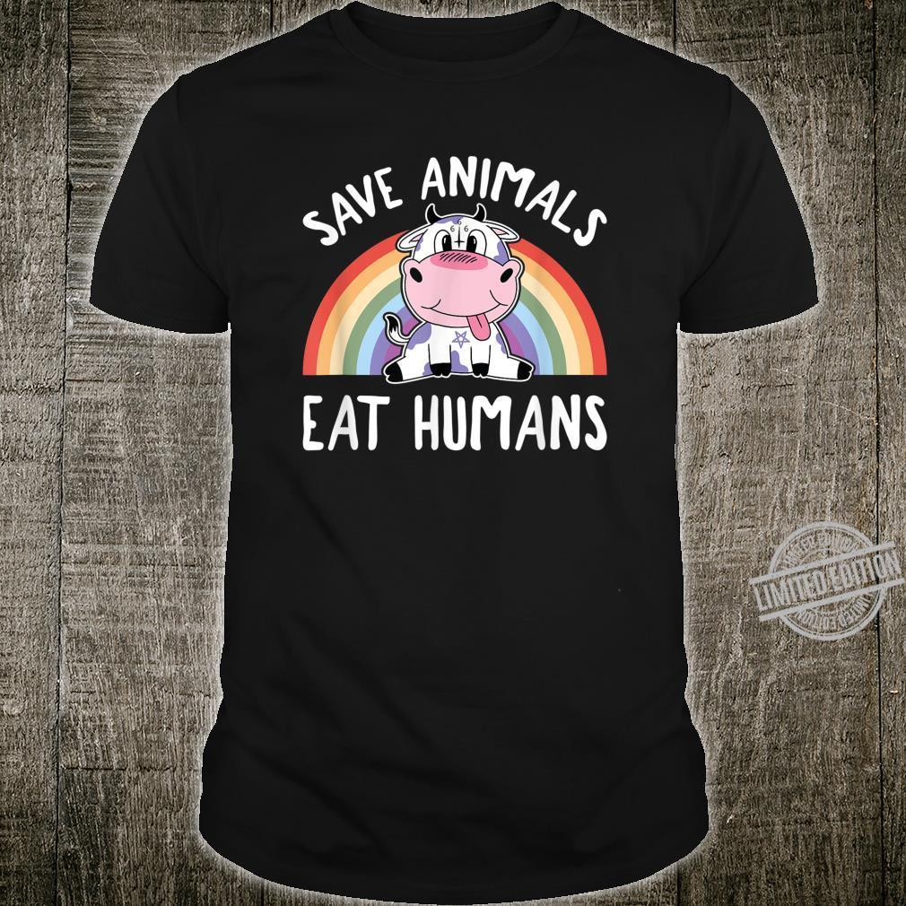 Save Animals Eat Humans Satanic Vegan 666 Rainbow Pentagram Shirt