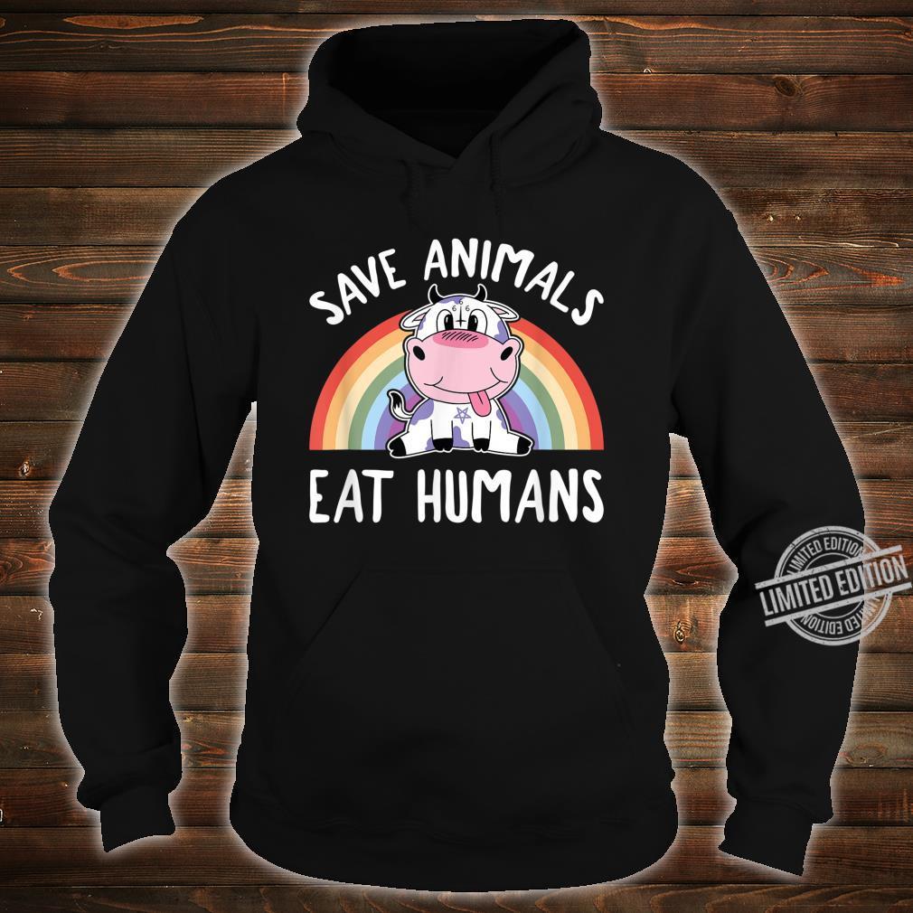 Save Animals Eat Humans Satanic Vegan 666 Rainbow Pentagram Shirt hoodie