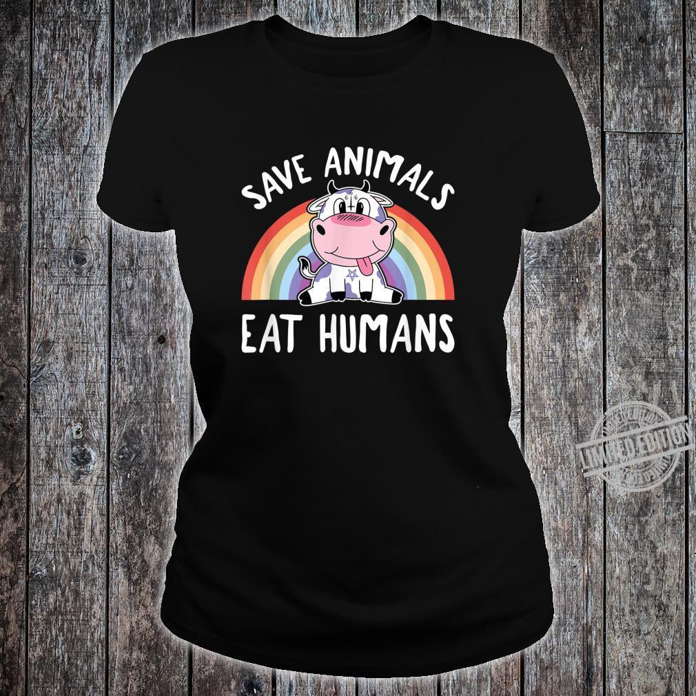 Save Animals Eat Humans Satanic Vegan 666 Rainbow Pentagram Shirt ladies tee