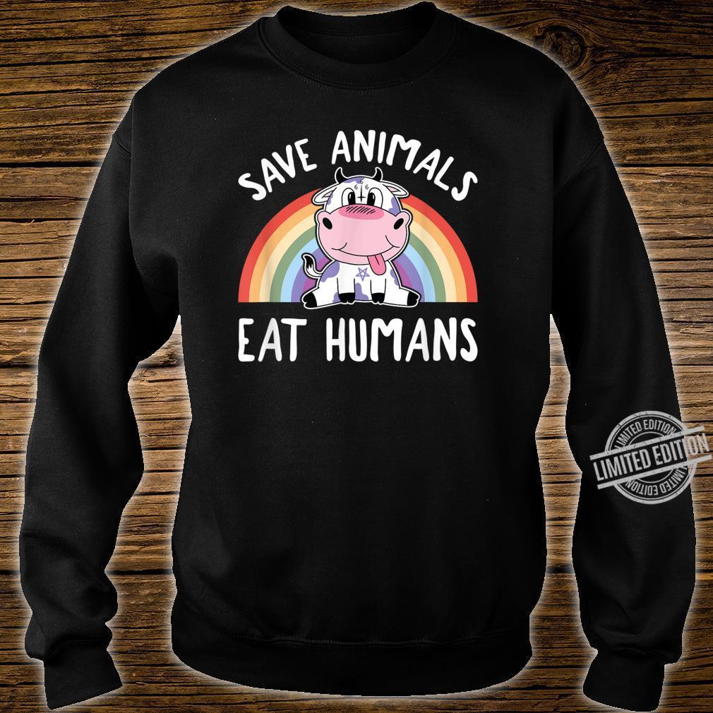 Save Animals Eat Humans Satanic Vegan 666 Rainbow Pentagram Shirt sweater