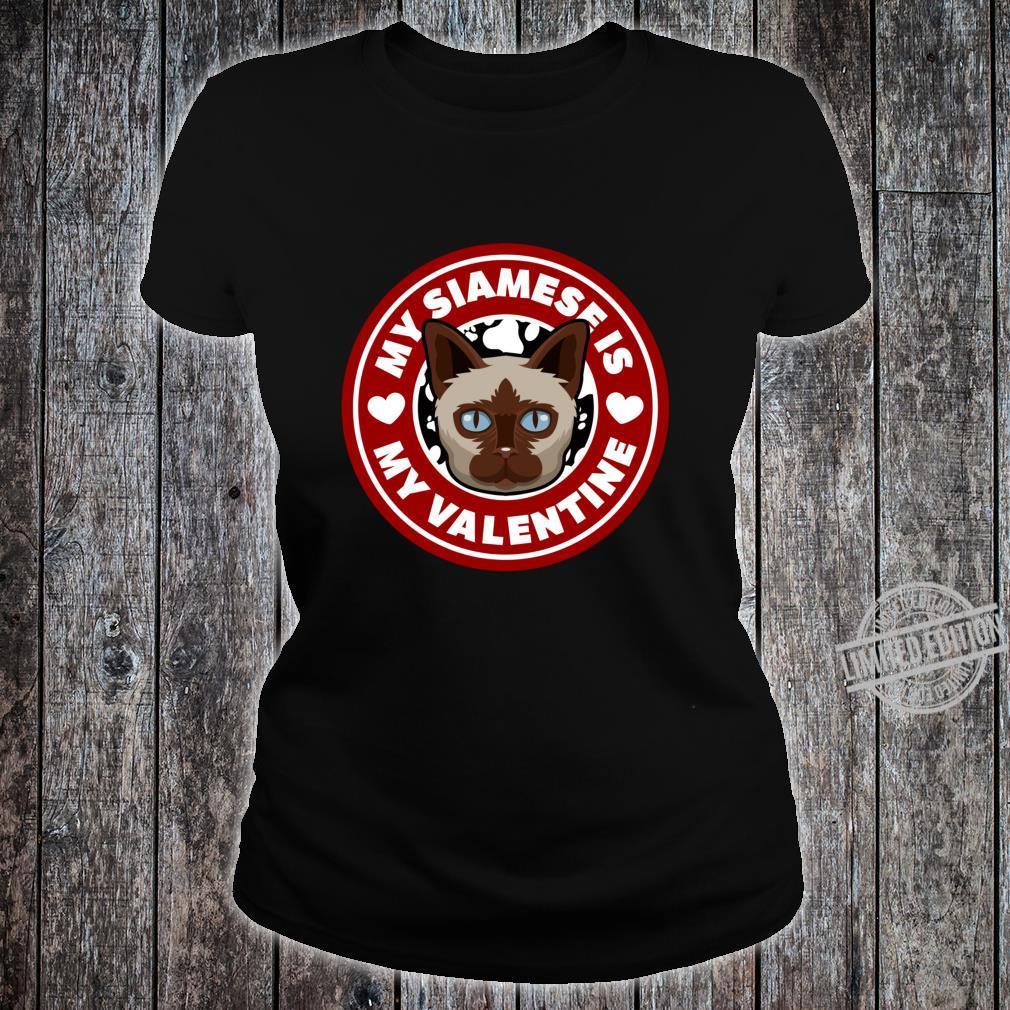 Siamese Cat Valentine Heart Valentine's Day Shirt ladies tee