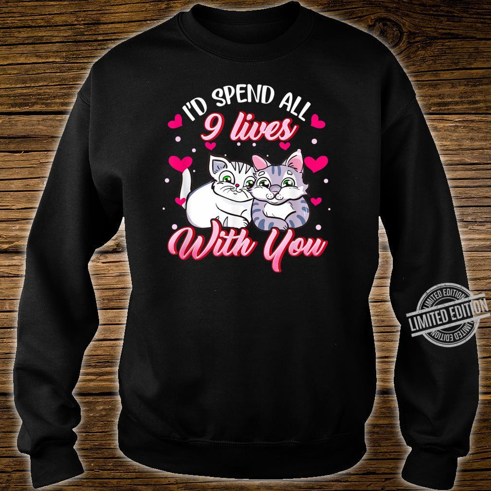 Spend All 9 Lives, Cat, Cute Valentines Day Shirt sweater