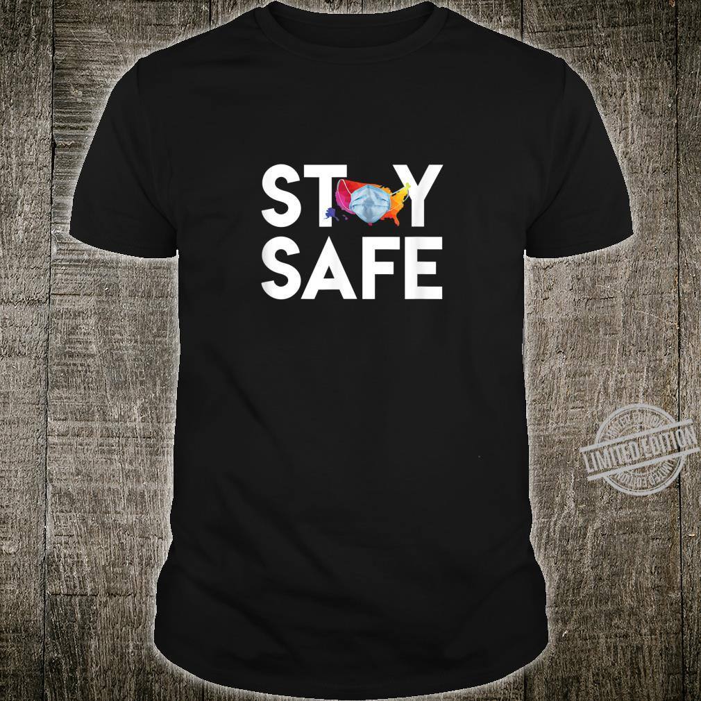 Stay Safe United States Wearing Face Mask Colorful Map Shirt