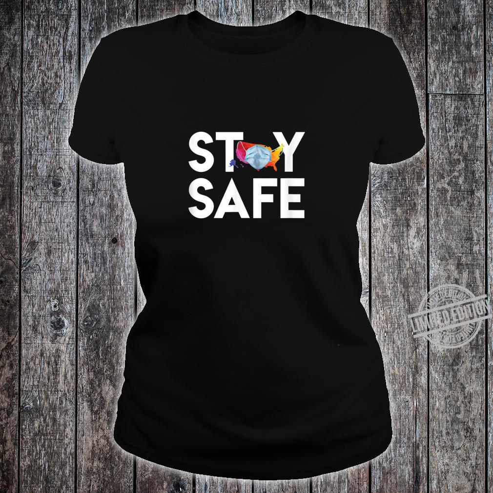 Stay Safe United States Wearing Face Mask Colorful Map Shirt ladies tee