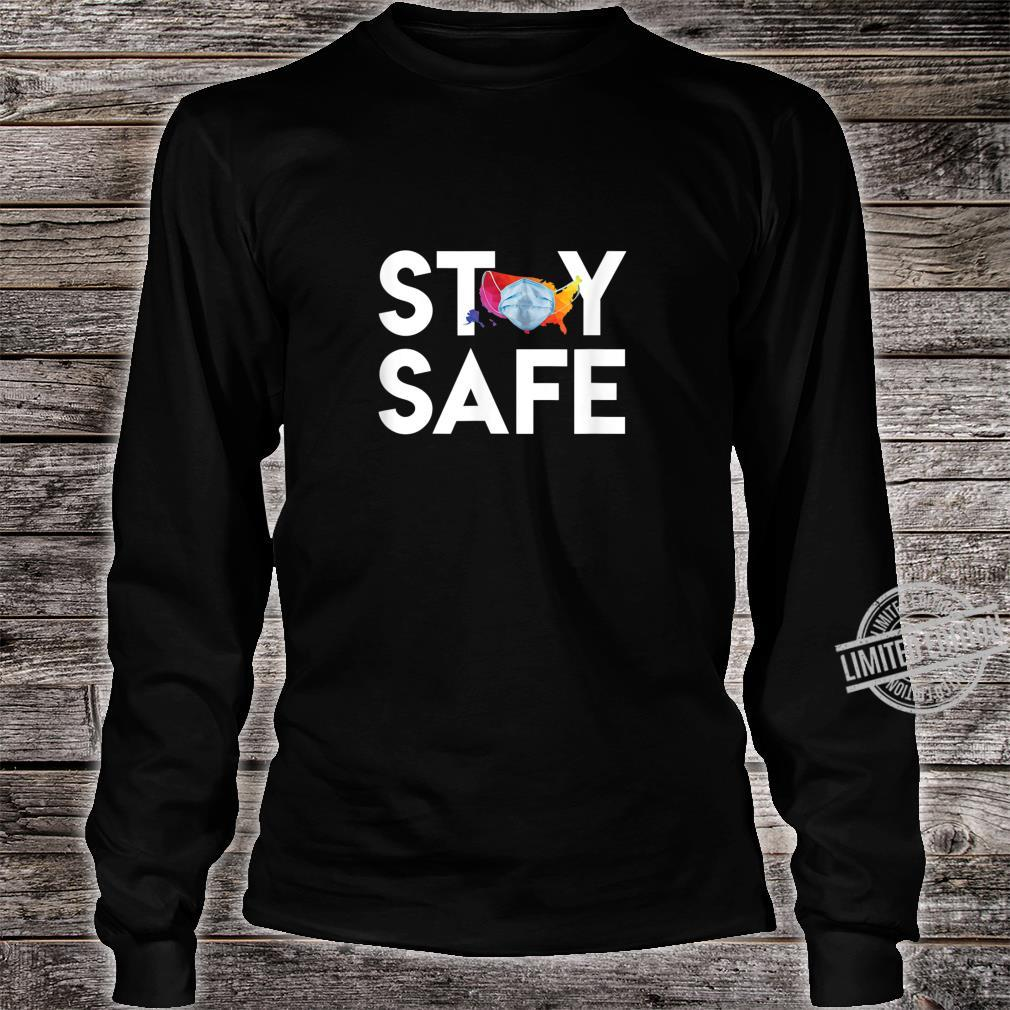 Stay Safe United States Wearing Face Mask Colorful Map Shirt long sleeved