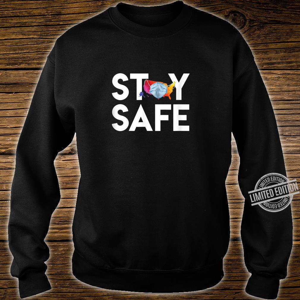Stay Safe United States Wearing Face Mask Colorful Map Shirt sweater