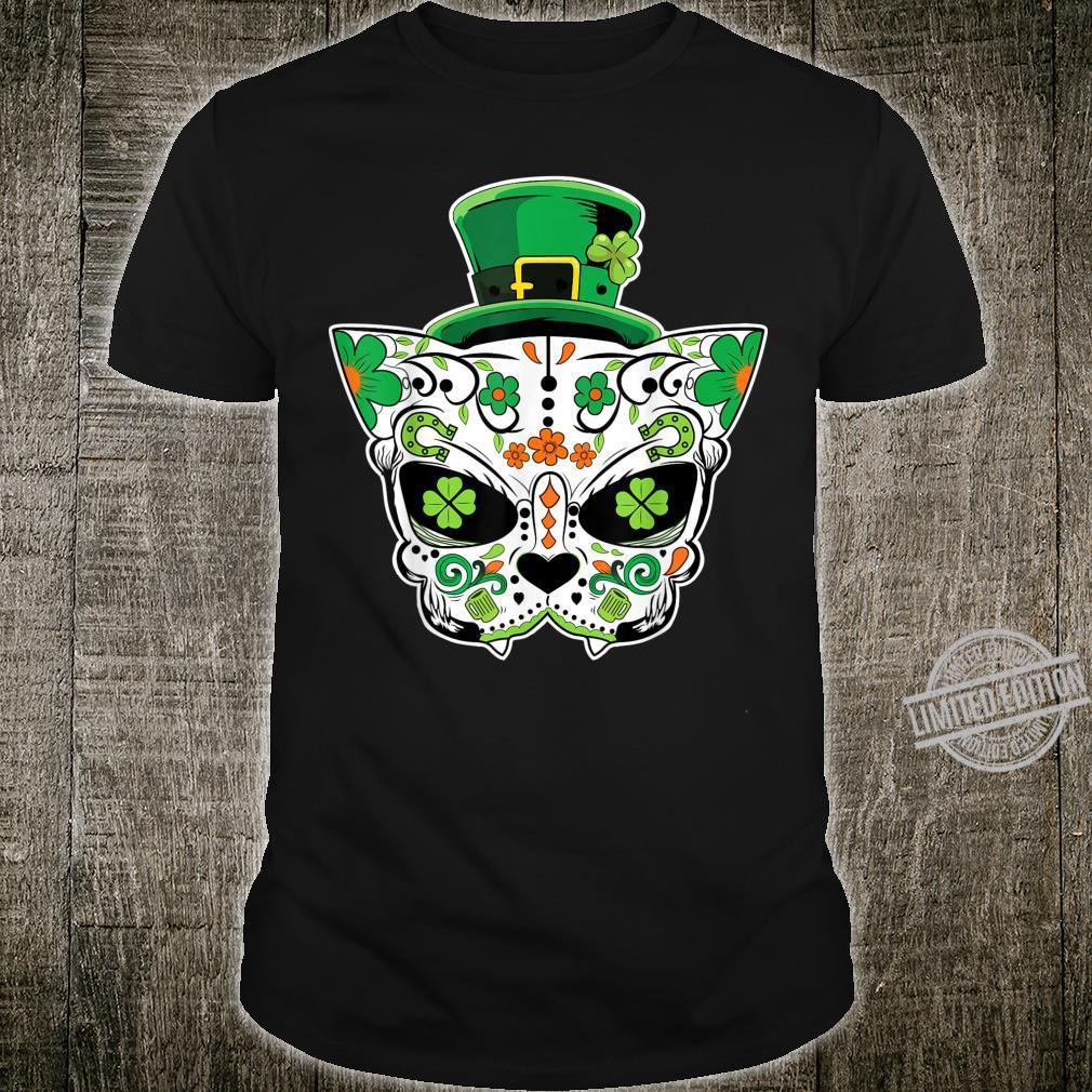Sugar Cat Skull Saint Patricks Day of Dead Shirt